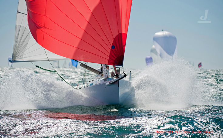 J/80 one-design sailboat - sailing fast downwind